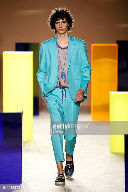 A model walks the runway at the Antonio Miro designed by Alberto Villagrasa show during the Barcelona 080 Fashion Week Spring/Summer 2017 at the...