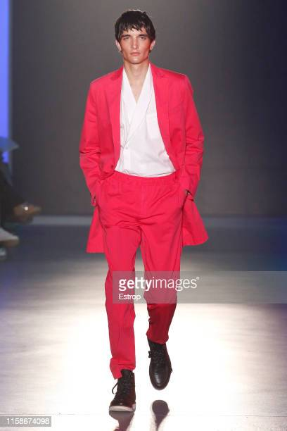 Model walks the runway at the Antonio Miro show during Barcelona 080 Fashion Week Spring/Summer 2020 on June 27, 2019 in Barcelona, Spain.