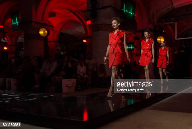 A model walks the runway at the Antonio Miro show during the Barcelona 080 Fashion Week on June 26 2017 in Barcelona Spain