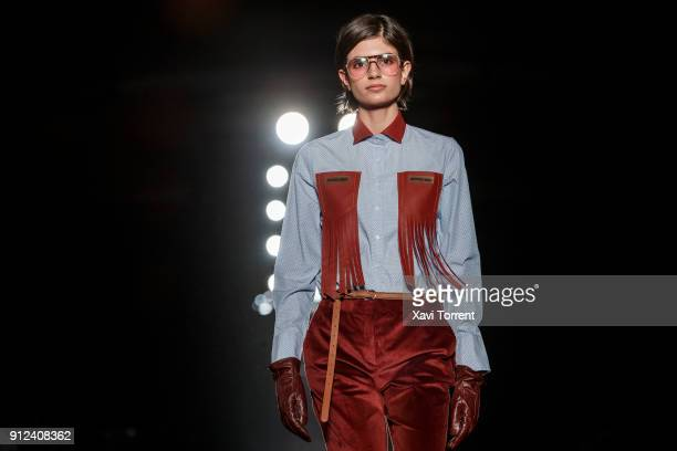 A model walks the runway at the Antonio Miro show during the Barcelona 080 Fashion Week on January 30 2018 in Barcelona Spain