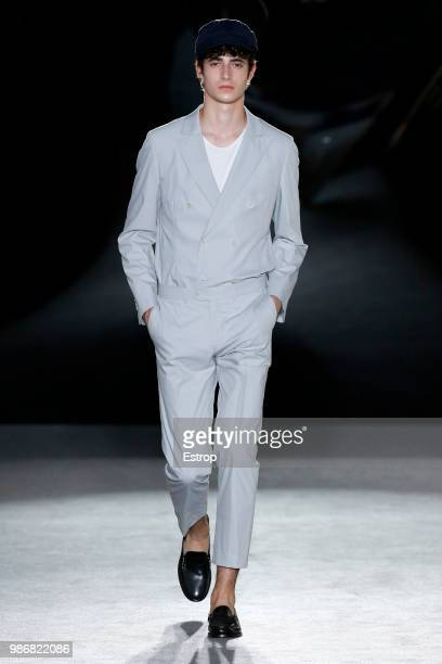 A model walks the runway at the Antonio Miro show during the Barcelona 080 Fashion Week on June 27 2018 in Barcelona Spain