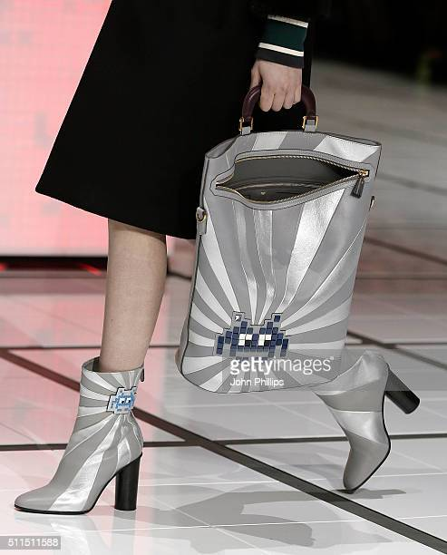 A model walks the runway at the Anya Hindmarch show during London Fashion Week Autumn/Winter 2016/17 at on February 21 2016 in London England