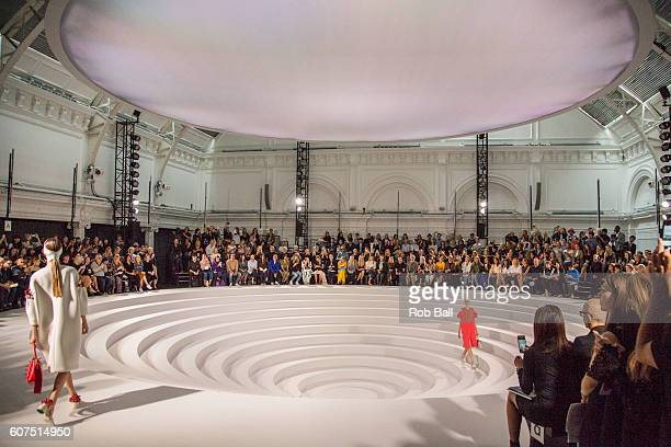 A model walks the runway at the Anya Hindmarch show during London Fashion Week Spring/Summer collections 2016/2017 on September 18 2016 in London...