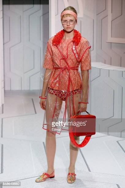 A model walks the runway at the Anya Hindmarch show during London Fashion Week September 2017 on September 17 2017 in London England