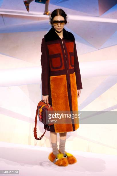 A model walks the runway at the Anya Hindmarch show during the London Fashion Week February 2017 collections on February 19 2017 in London England