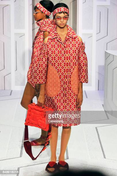 A model walks the runway at the Anya Hindmarch Spring Summer 2018 fashion show during London Fashion Week on September 17 2017 in London United...