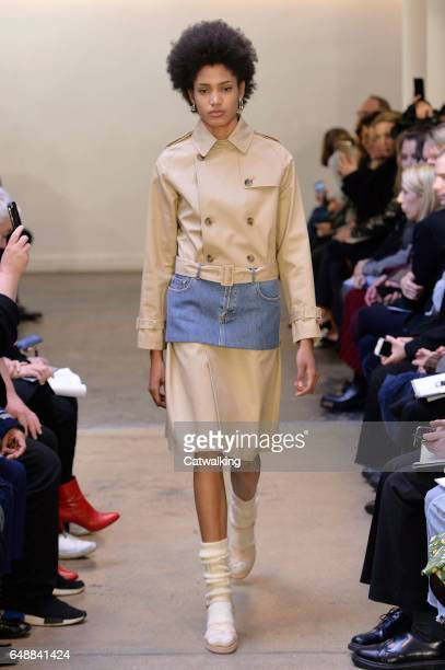 Model walks the runway at the A.P.C. Autumn Winter 2017 fashion show during Paris Fashion Week on March 6, 2017 in Paris, France.