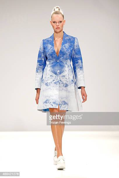 A model walks the runway at the Apu Jan show during London Fashion Week Spring Summer 2015 at Fashion Scout Venue on September 14 2014 in London...