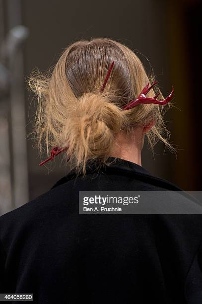 A model walks the runway at the Apu Jan show during London Fashion Week Fall/Winter 2015/16 at Fashion Scout Venue on February 21 2015 in London...