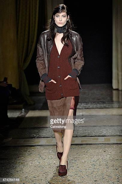 Model walks the runway at the Aquilano Rimondi Autumn Winter 2014 fashion show during Milan Fashion Week on February 22, 2014 in Milan, Italy.