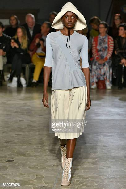 A model walks the runway at the Arthur Arbesser Ready to Wear Spring/Summer 2018 fashion show during Milan Fashion Week Spring/Summer 2018 on...