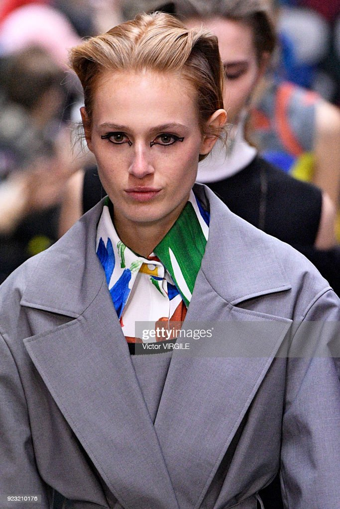 A model walks the runway at the Arthur Arbesser Ready to Wear Fall/Winter 2018-2019 fashion show during Milan Fashion Week Fall/Winter 2018/19 on February 21, 2018 in Milan, Italy.