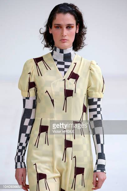 A model walks the runway at the Arthur Arbesser Ready to Wear Spring/Summer 2019 fashion show during Milan Fashion Week Spring/Summer 2019 on...
