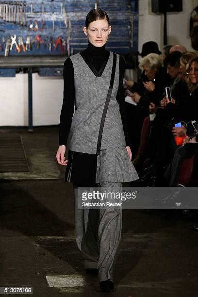A model walks the runway at the Arthur Arbesser show during Milan Fashion Week Fall/Winter 2016/17 on February 29 2016 in Milan Italy