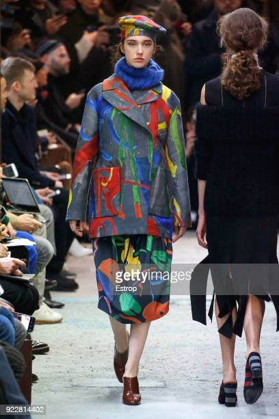 A model walks the runway at the Arthur Arbesser show during Milan Fashion Week Fall/Winter 2018/19 on February 21 2018 in Milan Italy