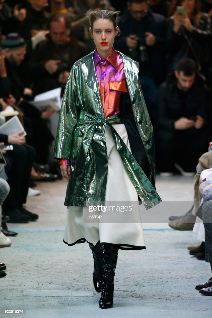 A model walks the runway at the Arthur Arbesser show during Milan Fashion Week Fall/Winter 2018/19 on February 21, 2018 in Milan, Italy.