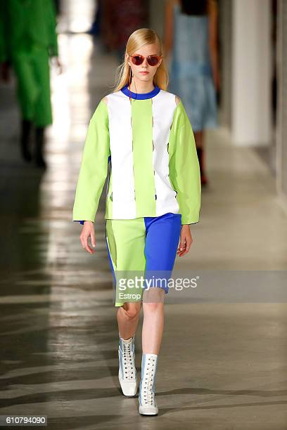 A model walks the runway at the Arthur Arbesser show Milan Fashion Week Spring/Summer 2017 on September 25 2016 in Milan Italy
