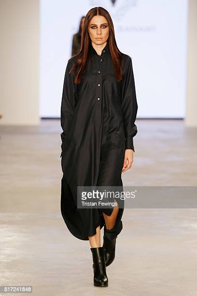 A model walks the runway at the Arwa Al Banawi show during Dubai collections March 2016 by Emaar at Burj Khalifa on March 24 2016 in Dubai United...