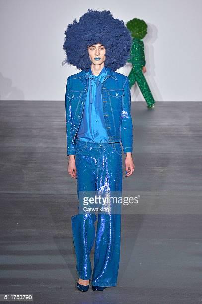 A model walks the runway at the Ashish Autumn Winter 2016 fashion show during London Fashion Week on February 22 2016 in London United Kingdom