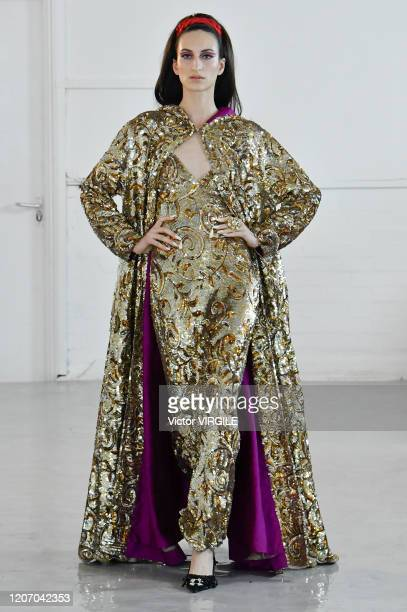 Model walks the runway at the Ashish Ready to Wear Fall/Winter 2020-2021 fashion show during London Fashion Week on February 17, 2020 in London,...