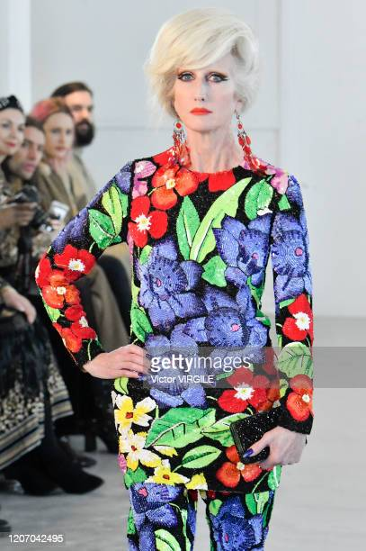 A model walks the runway at the Ashish Ready to Wear Fall/Winter 20202021 fashion show during London Fashion Week on February 17 2020 in London...