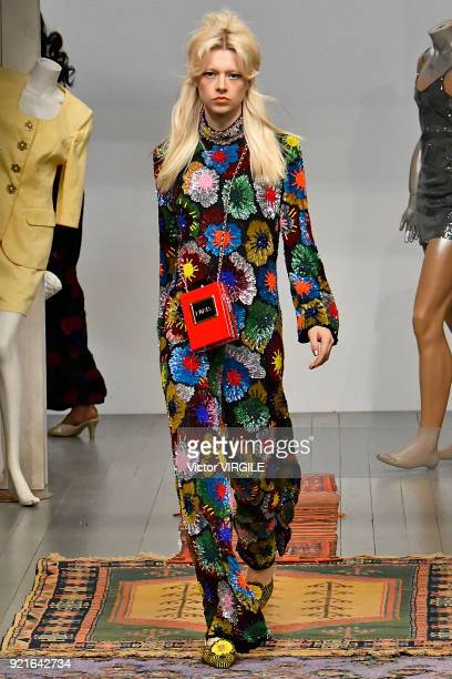 A model walks the runway at the Ashish Ready to Wear Fall/Winter 20182019 fashion show during London Fashion Week February 2018 on February 18 2018...