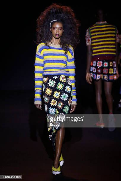 A model walks the runway at the Ashish show during London Fashion Week February 2019 on February 17 2019 in London England