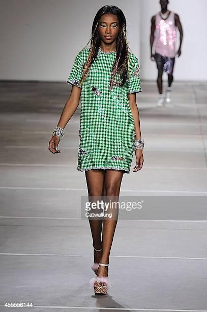 Model walks the runway at the Ashish Spring Summer 2015 fashion show during London Fashion Week on September 16, 2014 in London, United Kingdom.
