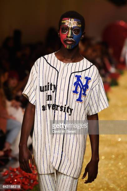 Model walks the runway at the Ashish X Major League Baseball at LFW – inspired by iconic MLB teams including LA Dodgers Boston Red Sox and Chicago...
