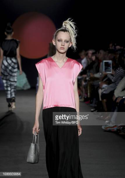 A model walks the runway at the Ashley Williams presentation during London Fashion Week September 2018 at the House of Vans on September 14 2018 in...