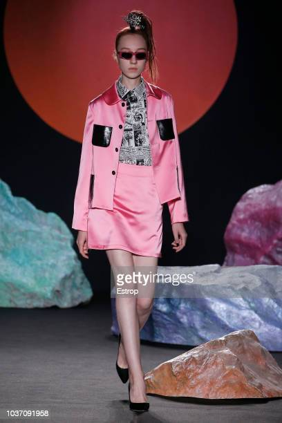 A model walks the runway at the Ashley Williams presentation during London Fashion Week September 2018 at XXXX on September 14 2018 in London England