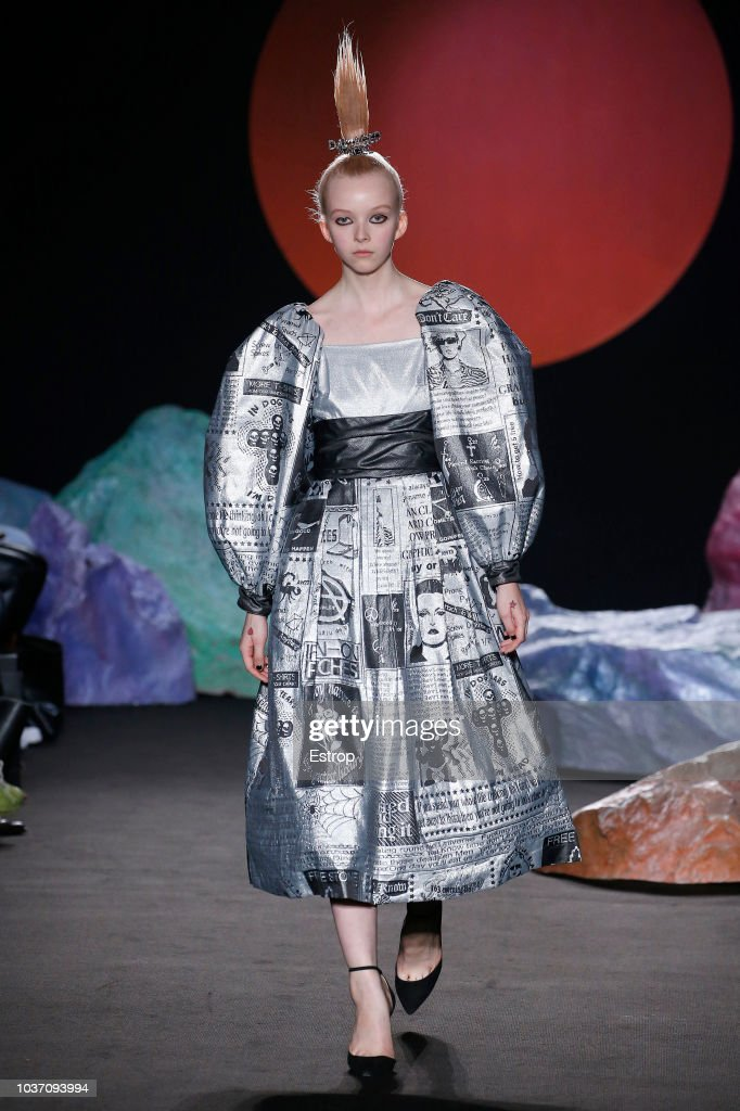 A model walks the runway at the Ashley Williams presentation during London Fashion Week September 2018 at XXXX on September 14, 2018 in London, England.