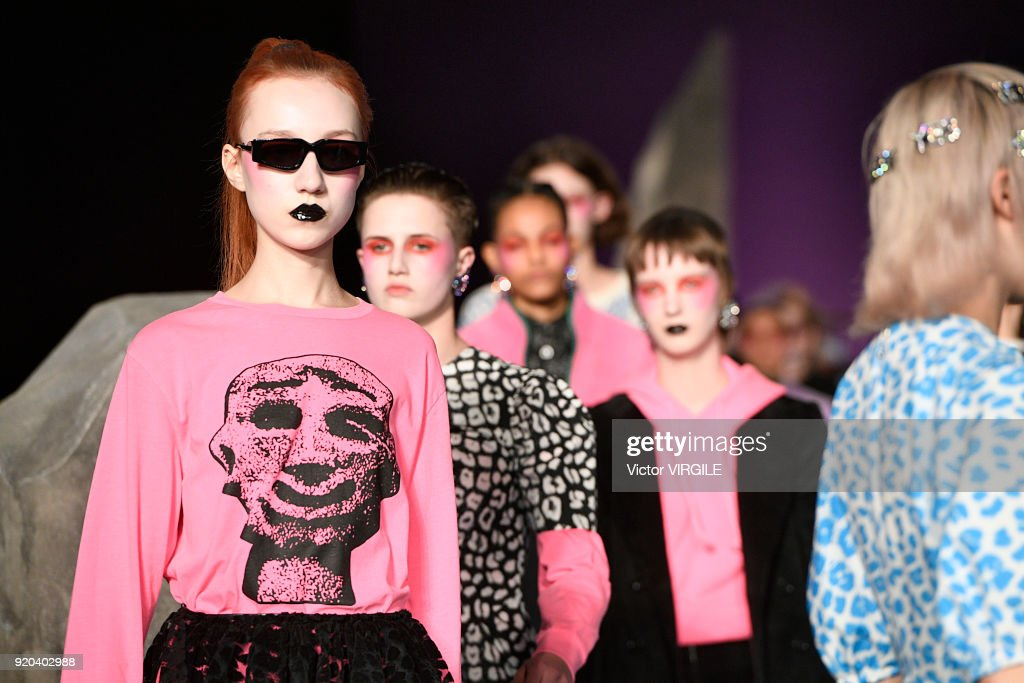 A model walks the runway at the Ashley Williams Ready to Wear Fall/Winter 2018-2019 fashion show during London Fashion Week February 2018 on February 16, 2018 in London, England.