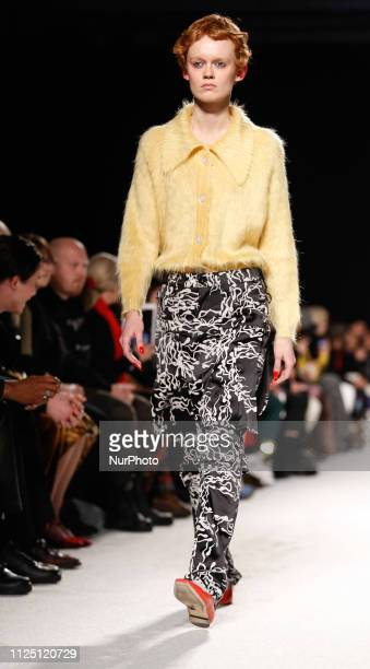 A model walks the runway at the Ashley Williams show during London Fashion Week February 2019 at the Ambika University of Westminster on February 15...