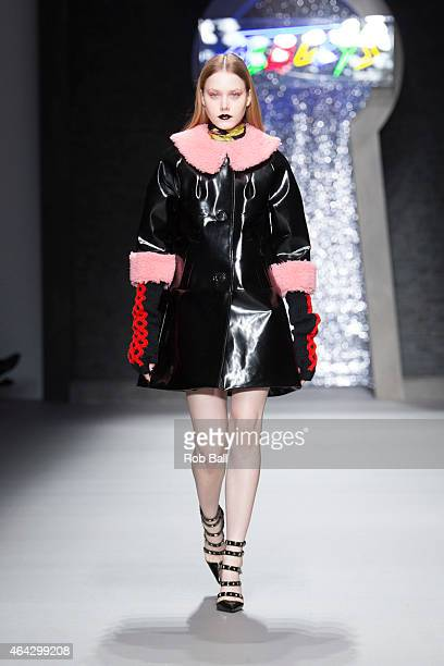 A model walks the runway at the Ashley Williams show during London Fashion Week Fall/Winter 2015/16 at Somerset House on February 24 2015 in London...