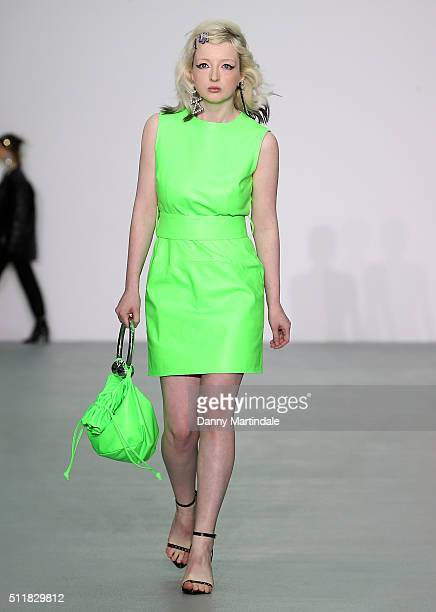 Model walks the runway at the Ashley Williams show during London Fashion Week Autumn/Winter 2016/17 at Brewer Street Car Park on February 23, 2016 in...