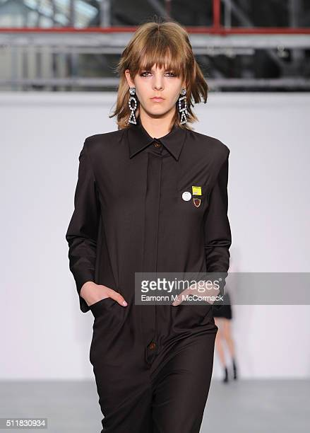 A model walks the runway at the Ashley Williams show during London Fashion Week Autumn/Winter 2016/17 at Brewer Street Car Park on February 23 2016...
