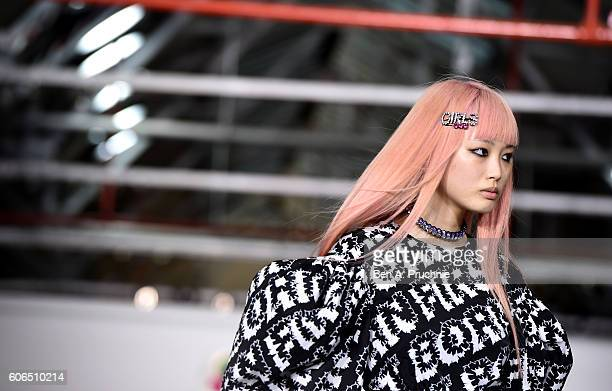 Model walks the runway at the Ashley Williams show during London Fashion Week Spring/Summer collections 2017 on September 16, 2016 in London, United...