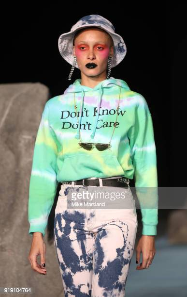 A model walks the runway at the Ashley Williams show during London Fashion Week February 2018 at University of Westminster on February 16 2018 in...