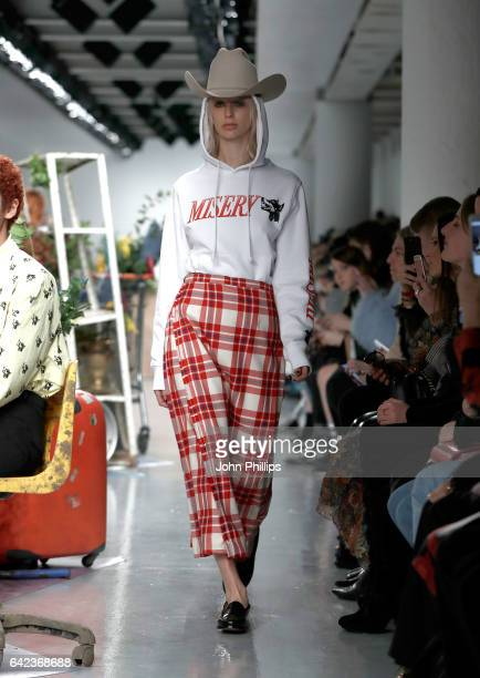 Model walks the runway at the Ashley Williams show during the London Fashion Week February 2017 collections on February 17, 2017 in London, England.