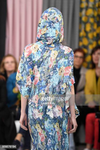 A model walks the runway at the Asli Filinta show during Mercedes Benz Fashion Week Istanbul at on March 29 2018 in Istanbul Turkey