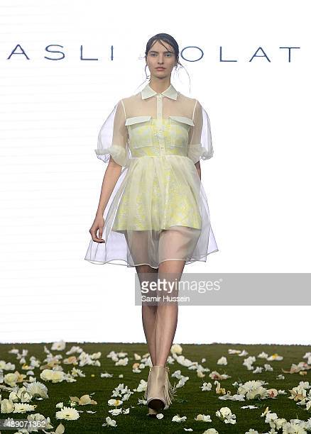 A model walks the runway at the Asli Polat show during London Fashion Week Spring/Summer 2016/17 on September 19 2015 in London England