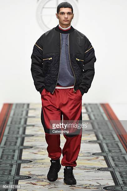 A model walks the runway at the Astrid Andersen Autumn Winter 2016 fashion show during London Menswear Fashion Week on January 9 2016 in London...