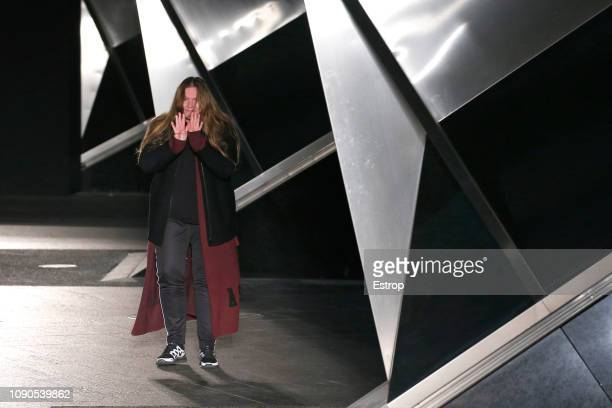 A model walks the runway at the Astrid Andersen show during London Fashion Week Men's January 2019 on January 6 2019 in London England