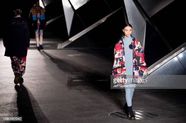 A model walks the runway at the Astrid Andersen show during London Fashion Week Men's January 2019 on January 06 2019 in London England