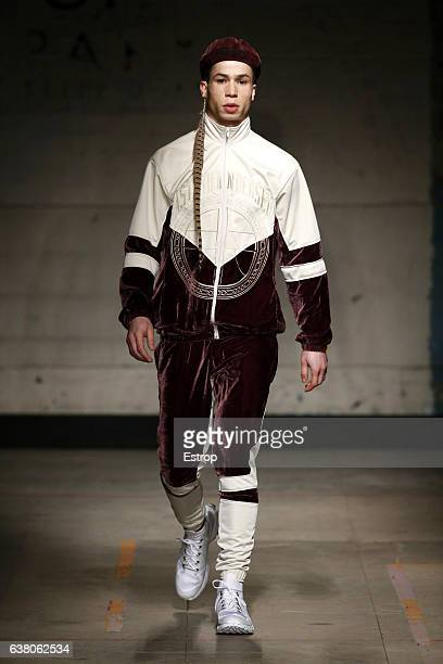 A model walks the runway at the Astrid Andersen show during London Fashion Week Men's January 2017 collections at BFC Show Space on January 7 2017 in...