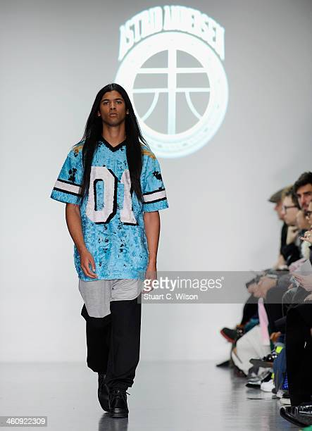 A model walks the runway at the Astrid Andersen show during The London Collections Men Autumn/Winter 2014 on January 6 2014 in London England