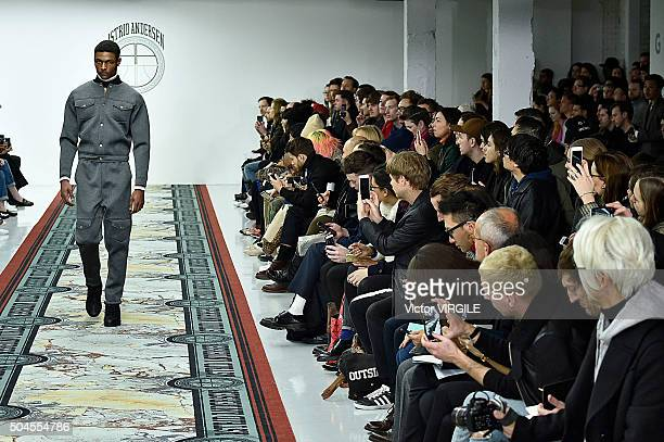 A model walks the runway at the Astrid Andersen show during The London Collections Men AW16 at Victoria House on January 9 2016 in London England
