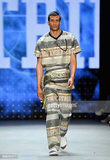 Model walks the runway at the Astrid Andersen show during The London Collections Men SS17 at Topman Show Space on June 10, 2016 in London, England.
