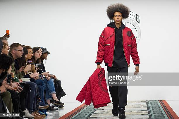 A model walks the runway at the Astrid Anderson show during The London Collections Men AW16 at Victoria House on January 9 2016 in London England